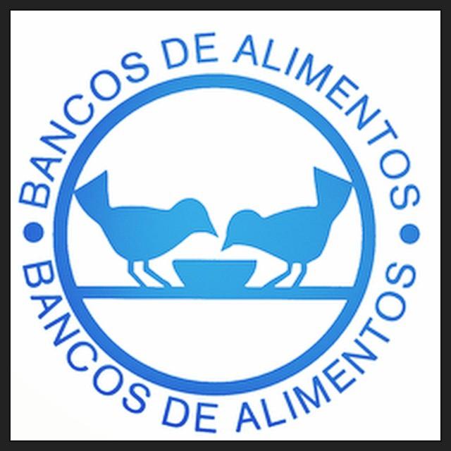 Logo del Banco de Alimentos. En él dos pájaros comen de un cuenco.
