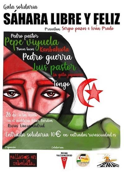 Cartel de Sahara libre y féliz